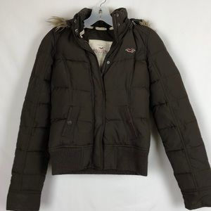 Hollister Brown Puffer Coat with Hood